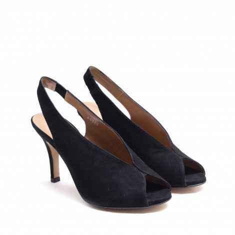 Black Suede Peep Toe Heel Shoe