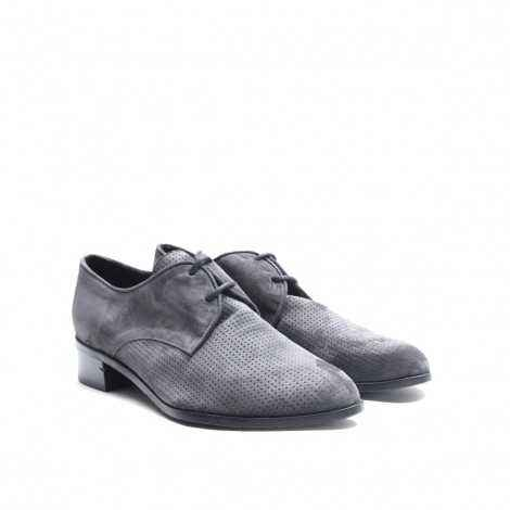 Grey Perforated Derby Shoe