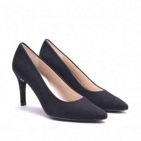 Black Suede Leather Heel Shoes
