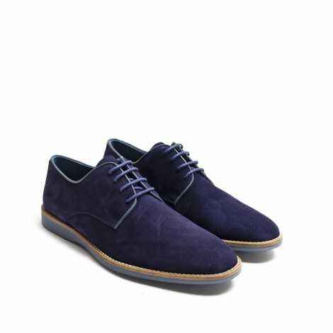 Blue Suede Lace-up Shoes