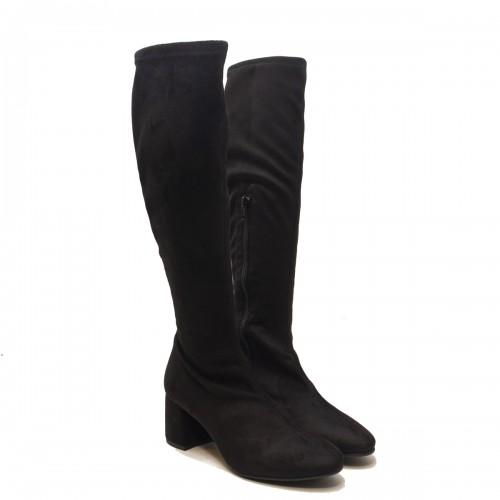 Black Lycra Suede Boot