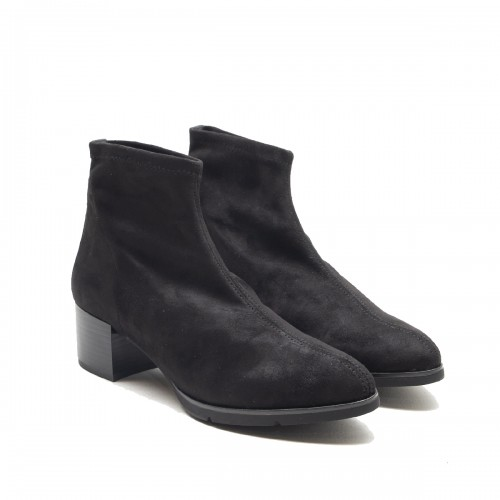 Black lycra suede ankle boot