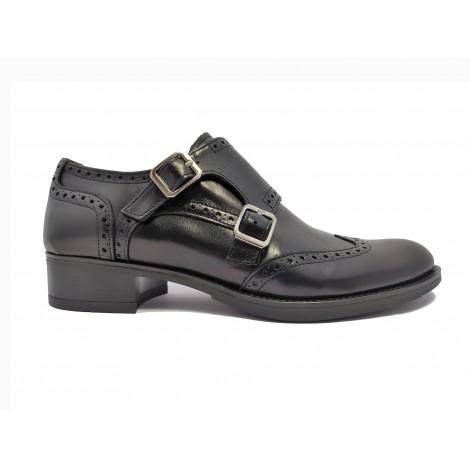 Double monk Black Shoe
