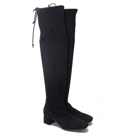 Black Lycra Suede Over the knee Boot