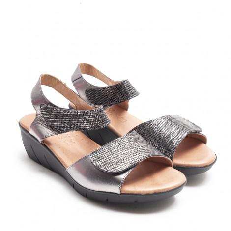 Sandalia 2 Velcros Plomo