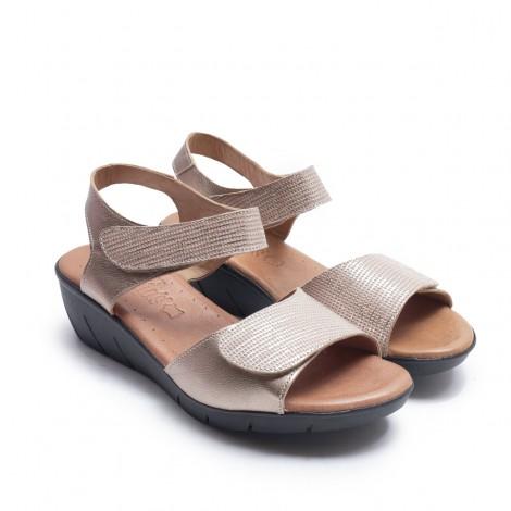 Sandalia 2 Velcros Taupe