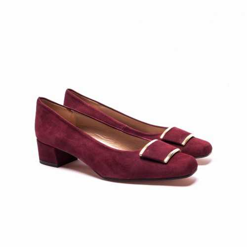 Burbundy Suede Heel Shoes