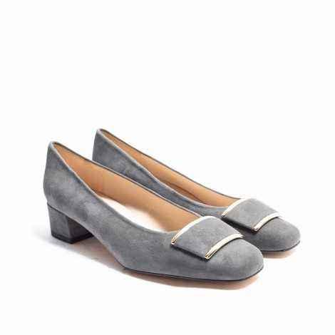 Grey Suede Heel Shoes