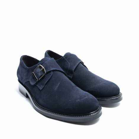Blue Suede Monk Shoe
