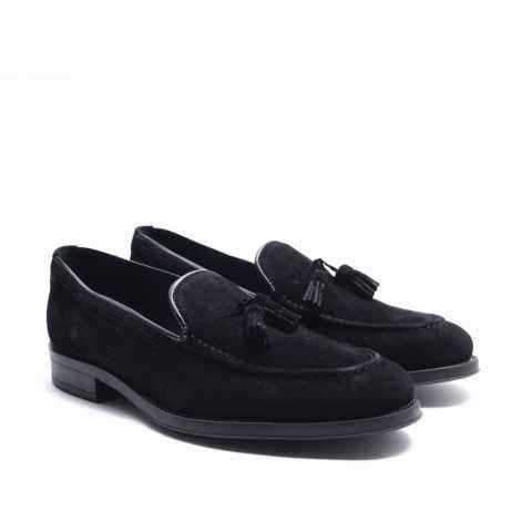 Black Suede Tassels Loafer