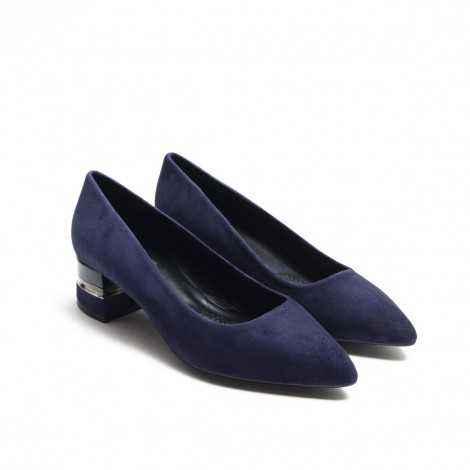 Decorated heel Blue Suede Heel Shoes