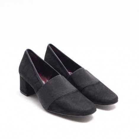 Zapato Elástico Ante Negro