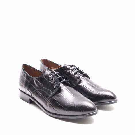 Black Cocodrile Derby Shoe