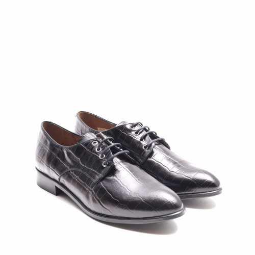 Black Cocodrile Derby Shoe