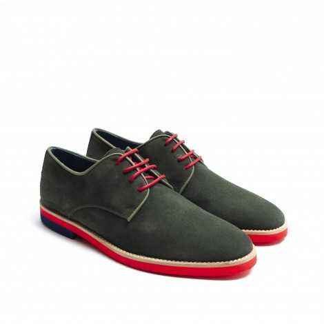 Green Suede Lace-up Shoes