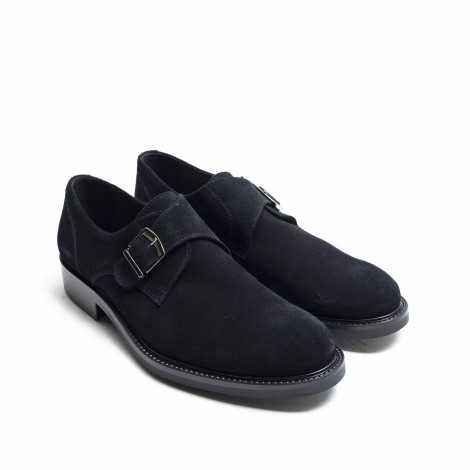 Suede Black Monk Shoe