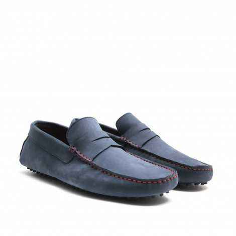 Driving Shoes in Blue Nobuck