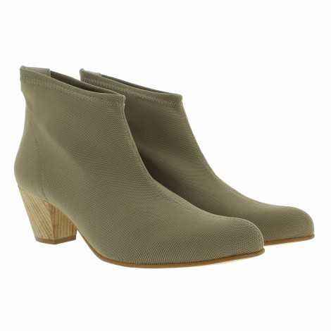 Beige Lycra Ankle Boots