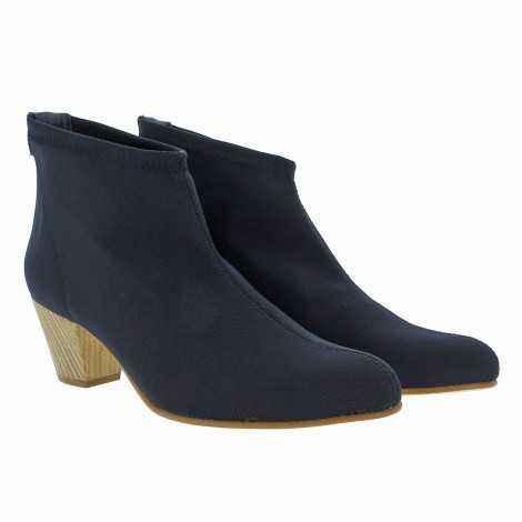Blue Lycra Ankle Boots