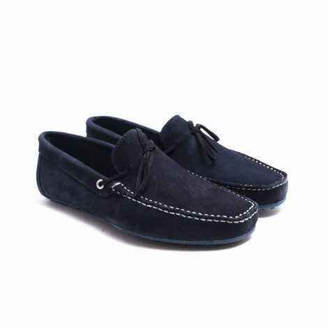 Blue Suede Lace-ups Loafer
