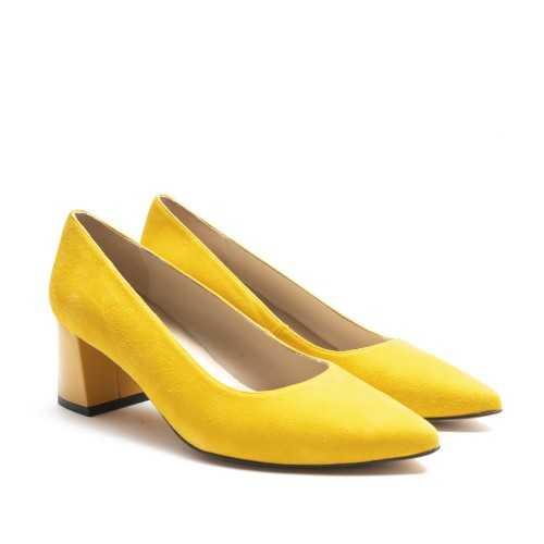 Yellow Suede Heel Shoe