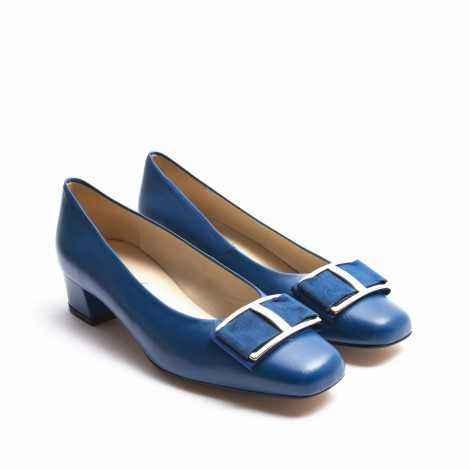 Blue Suede Ornament Heel Shoes