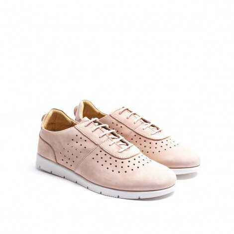 Pink Suede Perforated Sneakers