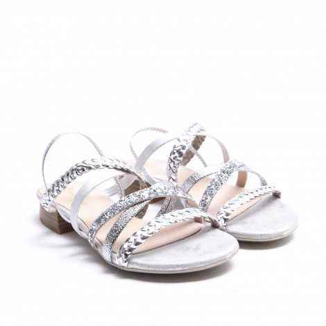 Braided Silver Strips Sandal